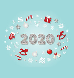 2020 new year template christmas cute decorative vector