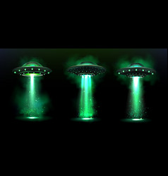 3d ufo alien space ships with light beam vector