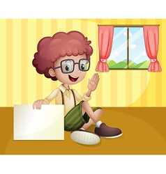 A boy holding an empty signboard near the window vector image