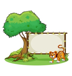 A framed empty banner with a tiger vector image