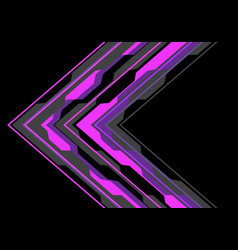 abstract violet arrow polygon circuit light black vector image