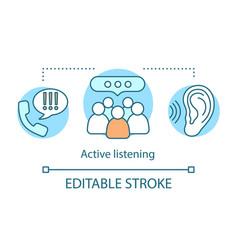 Active listening concept icon vector