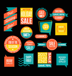 after christmas and end of season sale designs vector image