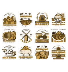 agriculture farm meat and dairy food vector image