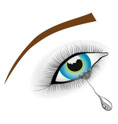 beautiful female blue crying eye vector image