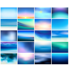 big set 20 horizontal wide blurred nature dark vector image