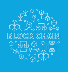 block chain blue round concept outline vector image