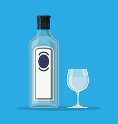 bottle of gin with shot glass vector image