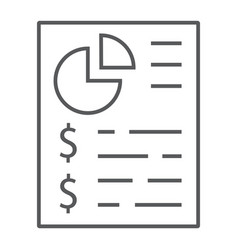 Budget planing thin line icon finance and banking vector
