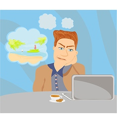 Businessman dreaming of a tropical vacation vector