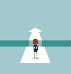 businesswoman standing on the edge of gap vector image