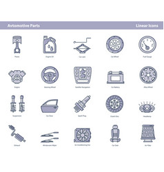 car parts colored outline icons set vector image