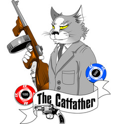cat gangster vector image