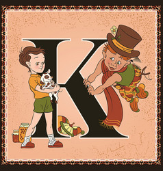 Children book cartoon fairytale alphabet letter k vector