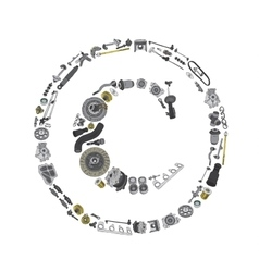 Copyright icone with auto parts for car vector image