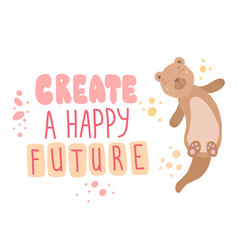 create happy future scandinavian style lettering vector image
