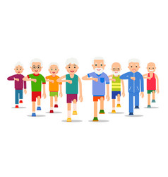 crowd of older active people go adult men and vector image