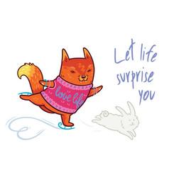 Cute baby fox scateboarding fun t shirt vector