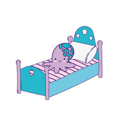 Cute bed with pillow and octopus toy vector