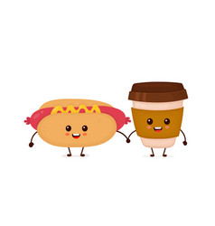 cute funny smiling happy hot dog vector image