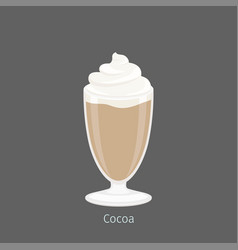 Delicious hot cocoa or drinking chocolate in glass vector