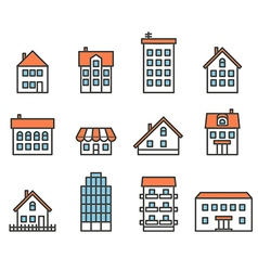 Different house silhouettes collection Design vector