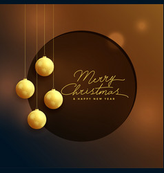 elegant golden christmas balls on bokeh background vector image
