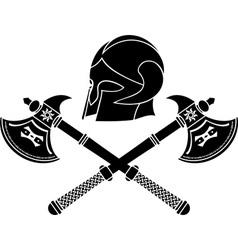 fantasy barbarian helmet with axes stencil vector image