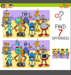 find differences game with robot characters vector image