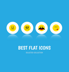 Flat icon expression set of cross-eyed face vector