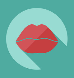 flat modern design with shadow icon lips vector image