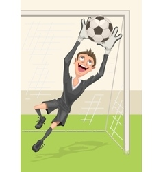 Football goalkeeper catches ball Penalty kick in vector