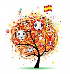 football tree design Spanish flag vector image