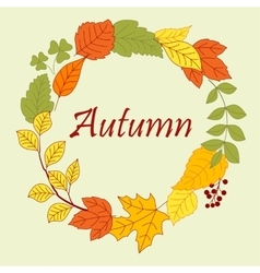 Frame border of autumn leaves and clovers vector