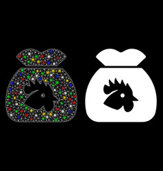 Glossy mesh carcass chicken food sack icon vector