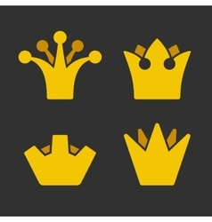 Gold Crown Icons Set on Dark Background vector image vector image