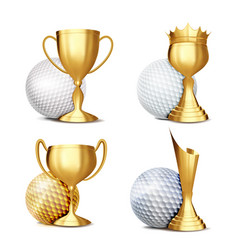 golf game award set golf ball golden cup vector image