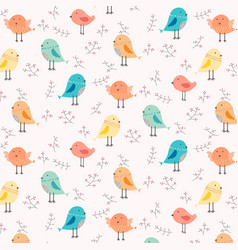 hand drawn cute bird and floral pattern background vector image