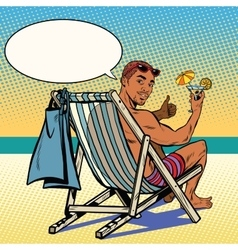 Handsome black man resting on the beach vector