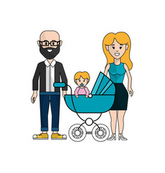 Happy couple with their baby icon vector