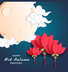 Happy mid autumn festival moon red flower backgrou vector