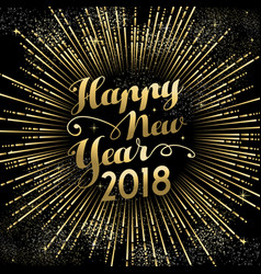 happy new year 2018 gold firework sky card vector image