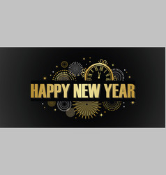 happy new year banner with golden fireworks gold vector image