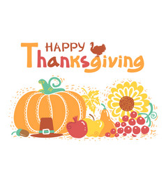 Happy thanksgiving day card with text beautiful vector