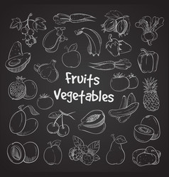Health food doodle vegetables and fruits hand vector
