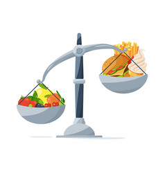 Healthy food and fast food on the scales choose vector