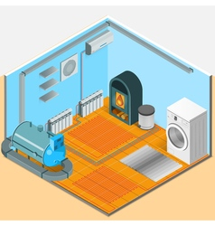 Heating Cooling System Interior Isometric Template vector image