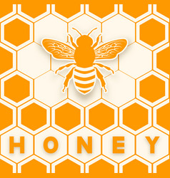 honey bee sticker silhouette on honeycomb vector image