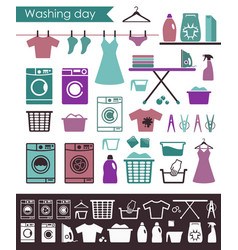 icons on a theme of washing and care of clothes vector image