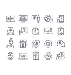 info and help desk line icons vector image